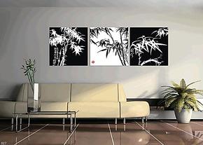 装饰画 无框画 壁画墙面画版画客厅商务书房三联挂画简单黑白竹画