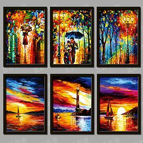 抽象彩色油画装饰画现代客厅简约卧室酒店壁画餐厅挂画墙画有框画