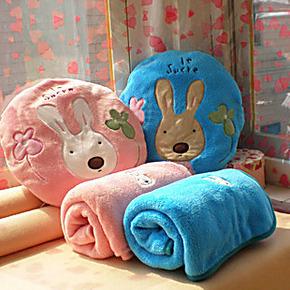 砂糖兔空调毯双人枕 婴儿被 珊瑚绒抱枕/婴儿空调被/婴儿毛毯
