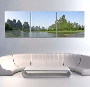 现代家庭装饰画三联无框画客厅挂画卧室房间壁画桂林山水漓江风景