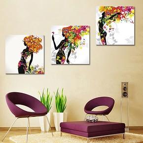 时尚女孩现代画客厅装饰画多联画餐厅无框画走廊背景画挂画墙壁画