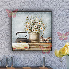 创意家居美式无框画浴室画防水画装饰画卫生间版画壁画照片墙画竖