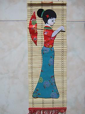 竹挂画 布画 竹片布贴画 布贴画 毛线画 家庭装饰画 壁挂画 对画