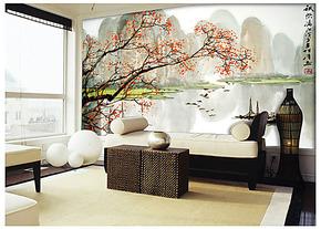 个性电视背景墙纸壁纸壁画大型客厅卧室沙发墙画山水中式古典