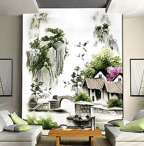 壁纸壁画电视背景墙纸壁纸壁画大型客厅卧室沙发墙画国画中式山水