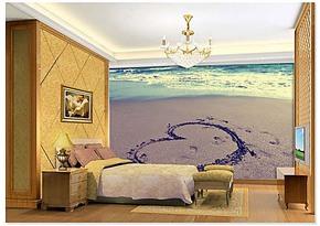个性卧室背景墙纸壁纸壁画大型客厅卧室沙发墙画爱心沙滩现代简约