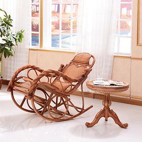 司库诺 藤木摇椅 躺椅 逍遥椅 藤木摇椅 休闲椅 心型扭纹摇椅