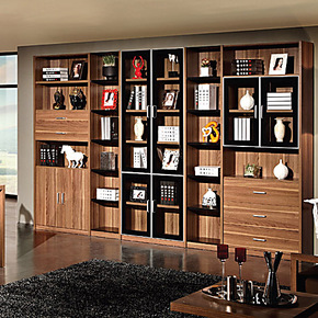 宜家书柜自由组合 浅胡桃简易带门置物书架 储物格子书橱8门特价