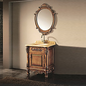 小户型浴室柜组合 洗手台盆柜 欧式卫浴柜洗脸盆整体橱柜落地T104