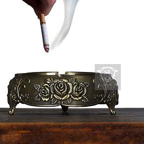 圣玛帝诺欧式古典高档五金玫瑰烟灰缸铁艺精品客厅卧室装饰烟灰缸