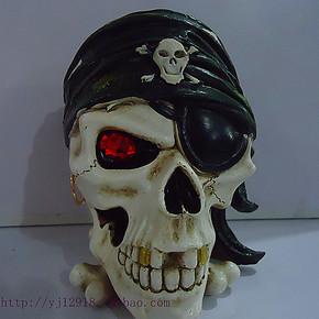 包邮新款时尚创意海盗骷髅头烟灰缸个性带盖工艺烟缸男友生日必备
