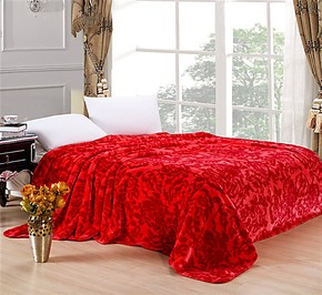 盛宇家纺新款厂家批发家纺家居床上用品法莱绒毛毯婚庆喜庆红色