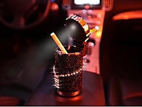 正品 pesox施华洛世奇水晶奢华LED烟灰缸 时尚高档车载礼品