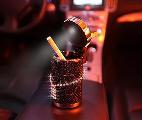 Pesox正品施华洛世奇水钻LED太阳能烟灰缸 汽车施华洛世奇烟灰缸