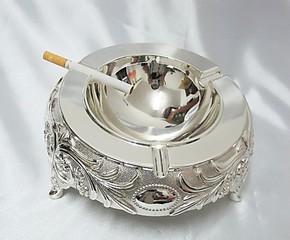 经典创意礼品时尚烟灰缸  镀银烟灰缸精品装饰 防氧化| 纯银色