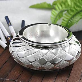 一品银匠正品S990足银高工艺圆形工纯银艺品摆件收藏 纯银烟灰缸