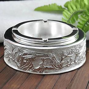 一品银匠正品高工艺圆柱99足银工艺品收藏领导好礼摆件纯银烟灰缸