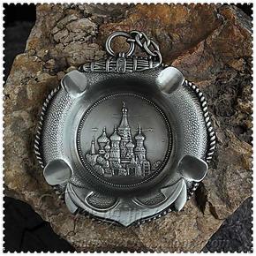 古锡小烟碟 俄罗斯锡制烟灰缸 可挂式 宫殿 城堡 三套车 直径12cm