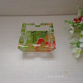 青苹果方形玻璃烟灰缸 花底 彩盒包装 大小型 常用于客厅 办公室
