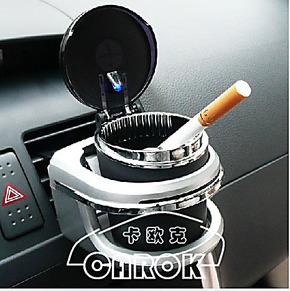 日本SEIWA烟灰缸小型带LED灯显夜光烟灰缸-W478黑色