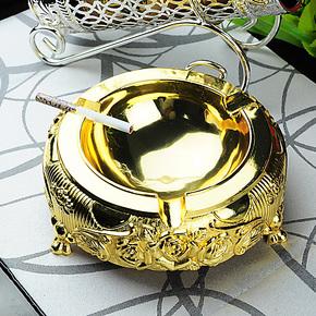 欧式复古烟灰缸20cm大号 合金镀银工艺 创意个性礼品水晶滴色包邮