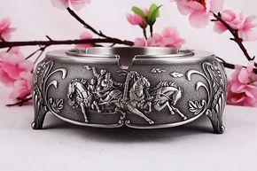 古锡合金烟灰缸 欧式战马烟缸 大中号圆形 时尚家居 商务礼品