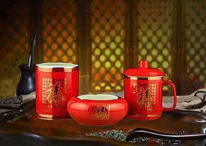 中国红瓷 百福办公三件套商务礼品 竹筒 烟灰缸 杯子