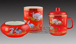醴陵瓷器中国红瓷玉兔办公三件套 时尚烟灰缸陶瓷创意礼品 特价包