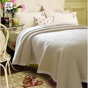 泰福鼎羊澳州冬季香槟色床上单人纯羊毛毯白色羊毛毯毛毯盖毯加厚