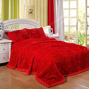 新光 拉舍尔毛毯 大红色婚庆 双人双层加厚保暖 10斤 特价包邮