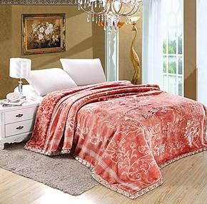 新光生产高档拉舍尔毛毯超柔双层压花金凤凰罗莱品质结婚庆床品
