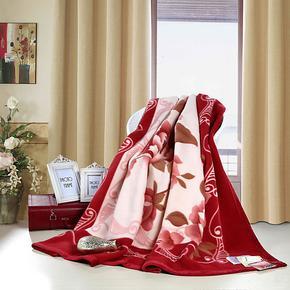 恒源祥专柜正品纯毛毛毯 盖毯 红装素裹 特价全国包邮 LT61X2