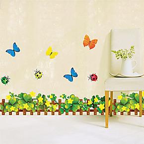 田园风格三代墙贴壁纸 幼儿园踢脚线腰线墙贴 客厅儿童卧室背景画