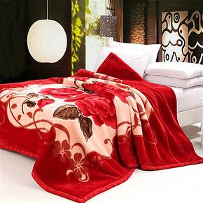 正品特价恒源祥家纺 拉舍尔毛毯 婚庆加厚双层毯子冬用大红色床品