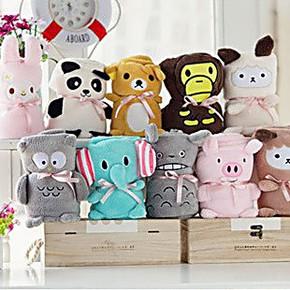 可爱卡通龙猫羊驼猫头鹰粉猪珊瑚绒空调休闲毯子儿童小毛毯