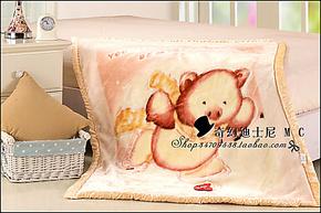 红豆专柜 冲五钻 正品 婴儿童拉舍尔毛毯 双层加厚 卡通童毯 送礼