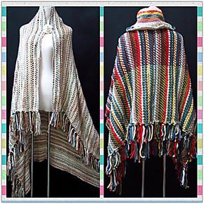 民族小香风 复古粗棒针流苏条纹厚大毛毯 毛线围巾/保暖披肩斗篷