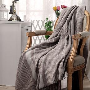 罗卡芙家纺 高档奢华毯四季保暖纯羊毛毯 卡尔斯提花羊毛毯正品