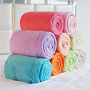 秋冬薄毯 双面珊瑚绒毯子 纯色 毛毯 舒棉绒 法莱绒床单包邮批发