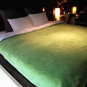 D.家出口日本 素色 舒棉绒毛毯 珊瑚绒毛毯 薄毯 盖毯 空调毯 绿