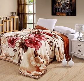 特价双人床婚庆拉舍尔毛毯加厚保暖双层牡丹大花 欧式冬用床品