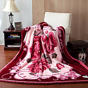 家纺节九洲鹿家纺 床上用品 拉舍尔双层加厚毛毯 毯子 春秋毯 枣