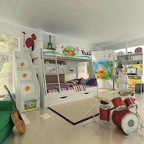 新品 酷漫居家具 迪士尼维尼森林音乐会高低床(全木架)儿童套房