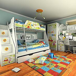 迪士尼·维尼快乐家高低床(全木架)儿童家具套房