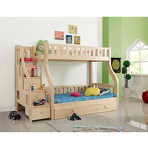 SN*松堡两层儿童床带梯柜 大自然实木高低床王国松木上下铺双层床