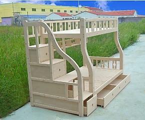 松木儿童床实木上下床高低床子母床铺床书架拖床梯柜木质简约时尚