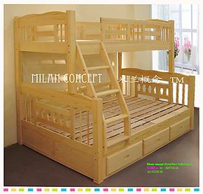 儿童床高低子母床松木上下床双层床%实木家具田园天津上海木质全