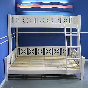 贵人缘白色水性油漆 松木高低床 子母床 双层床 简约现代环保时尚