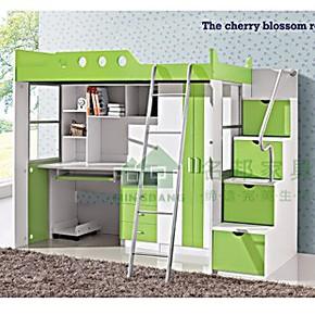 儿童多功能组合床/高低床/组合床/带书桌梯柜衣柜/名邦家具