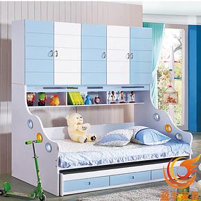 宜家高低床双层儿童床板式多功能儿童床实木小孩床带储物空间858